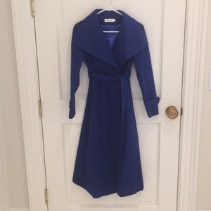 Jackets & Blazers - Royal Blue Slim Felt Long Coat S/XS